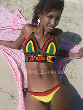 CROCHET  BIKINI  HANDMADE. RASTA COLORS 01. UK SELLER
