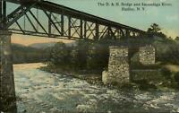 Hadley NY D&H RR Train Bridge 1915 Used Postcard