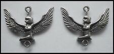 PEWTER CHARM #2325 x 2 ISIS WINGED GODDESS (30mm x 24mm) 2 bail joiner EGYPTIAN