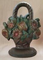 Antique Mixed Flower Basket Cast Iron Doorstop, #755N, L.A.C.S.