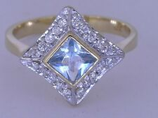 R081- Genuine Solid 9K Yellow Gold NATURAL Aquamarine & Diamond Ring size N