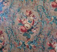 "Vintage Hand Blocked Linen Rose Curtain Drape Fabric Panel c1930-40~88""LX36""W"