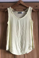 Ladies Mint Velvet Yellow Fringed Vest Top UK Size 8