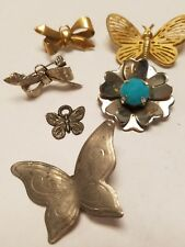 6- VINTAGE JEWELED BROOCH PIN PENDANT LOT Butterfly Bows COSTUME JEWELRY