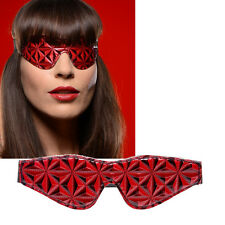 Red Shiny Vinyl Soft Padded Lined Blindfold Eye Cover Sleeping Black-Out Mask