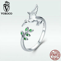 Voroco S925 Sterling Silver Open Ring Hummingbird & Olive Branch Fashion Jewelry