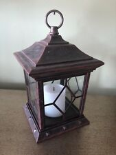 """Metal LED Candle Light Lantern Indoor Flameless Decor Faux Rust 9""""tall 4""""x4""""x4"""""""