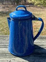 "Vintage Blue Enamel Ware Speckled Graniteware 7"" Coffee Pot"