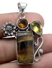 "925 Sterling Silver Tiger's Eye & Citrine Gemstone Jewelry Pendant Size-2"""