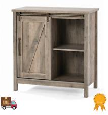Farmhouse Storage Cabinet Sliding Barn Door Wood End Table Console Accent Shelf