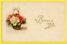cpa ILLUSTRATION LITHO Signée C. KLEIN Panier de ROSES Bonne Fête Flowers Fleurs