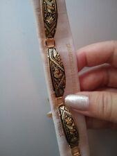 Damascene Bracelet Dove Birds Flowers Gold Inlay Spanish Design 029