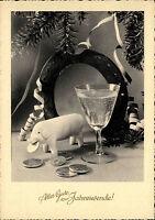 Grusskarte NEUJAHR Happy New Year Postkarte ungelaufen Hufeisen Sekt Schwein