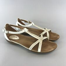 Clarks Artisan UK5.5 D Blanco Cuero Charol Peep Toes empedrada Sandalias Abiertas