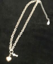 Vintage GUESS Silvertone and Crystal Key and Heart Locket Pendant Chain Necklace