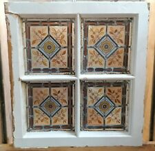 More details for a very pretty small victorian hand painted stained glass window ref m1536