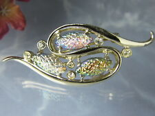 Vintage EMMONS Opalized Carved Marquise Glass Rhinestone Brooch Pin Jewelry