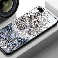 Japan Dragon Tiger Case iPhone 6s 7 8+ X XS XR 11 Pro MAX Tempered Glass Cover