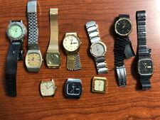 Lot of 10 Vintage Men's Quartz Watches including Seiko Day/Date & Citizen Alarm