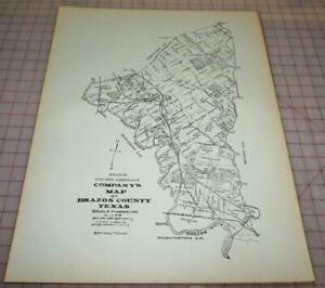 """Brazos county, Texas Old Wall Map Reprint Of Land Owners 1800s 22 1/8"""" x 17 1/8"""""""