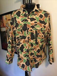 VINTAGE Deerskin Melton Shirt Mens Large Camoflauge  Flannel USA Made