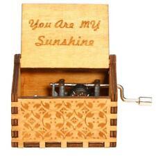 Vintage Wooden Music Box Engraved Clockwork Crank Crafts Home Decor Special Gift