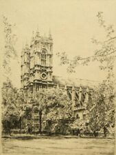 Edward J. Cherry pencil signed original etching 'Westminster Abbey'