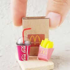 Coke COCA-COLA French Fries Dollhouse Miniature Fast Food Soda Drink Tiny Set