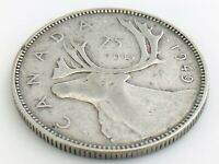1949 Cleaned Canada Twenty Five 25 Cent Quarter Circulated George VI Coin K157