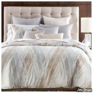 Hotel Collection Lateral 100% Pima Cotton King Duvet Cover Tan/Beige NWT 335.00