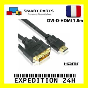 Câble adaptateur DVI vers HDMI de 1.8m câble DVI-D GOLD 24+1PIN