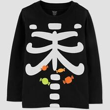New Toddler 3T Glow In Dark Skeleton Candy Halloween Long Sleeve Shirt Black