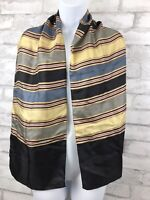 "Vintage Echo Scarf ~ 100% Silk ~ Stiped ~ Black ~ Gold 58x11"""