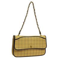 CHANEL Choco Bar 2.55 CC Single Chain Shoulder Bag Bi-Color Leather NR13987g