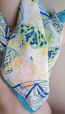Talbots 100% Silk Square Scarf SPRING EASTER Blue Green White Butterflies Italy