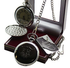 PERSONALISED Engraved Pocket Watch Cash Money Clip Gift Set Free Engraving
