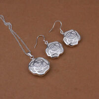 Hollow Flower Pendant Necklace and Earrings Set 925 Sterling Silver NEW