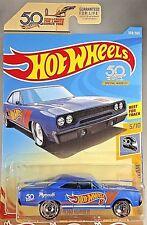 2018 Hot Wheels #308 HW 50th Race Team 5/10 '70 ROAD RUNNER Blue w/50th Slot Sp