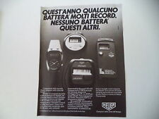 advertising Pubblicità 1981 HEUER MICROSPLIT 221/231