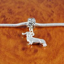 Silver Dachshund dog charm paw bead for European charm bracelet or necklace