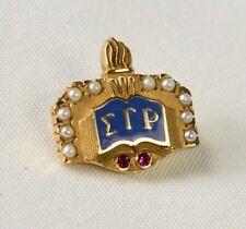 Vtg 10K Yellow Sigma Gamma Rho Sorority Pin Seed Pearls & Rubies Crown Badge