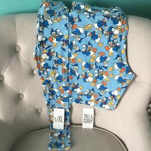 Lularoe Disney Donald Duck Leggings TC Tall Curvy & kids L/XL Mommy & Me Blue