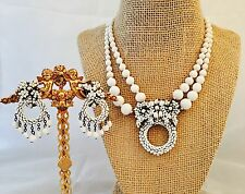 Miriam Haskell Vintage Signed White Art Glass Seed Beads Necklace & Earrings Set