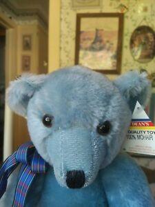 1980s blue mohair Dean's Rag Book Teddy Bear UK 15in EUC