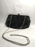 LA REGALE Vintage Black Beaded Evening Bag Purse Clutch Snap Closure