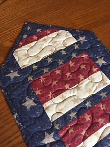 Handcrafted-Quilted Table Runner- Patriotic Runner-Stars &Stripes Patriotic Days
