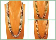 6PC Handmade Wood Beaded Multi Strand Bohemian Necklace WHOLESALE LOT 3 Colors