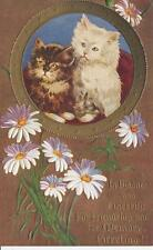Antique POSTCARD c1910 Two Kittens Cats Daisies Embossed Bronze 18417