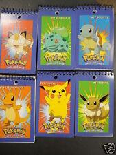 6 Pokemon Meowth Eevee Squirtle Bulbasaur Charmander Note Pad Book Card Pikachu
