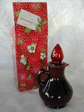 Collectible Vintage AVON Strawberry Bath Foam-4oz.-Ruby Red Glass Cruet-NIB